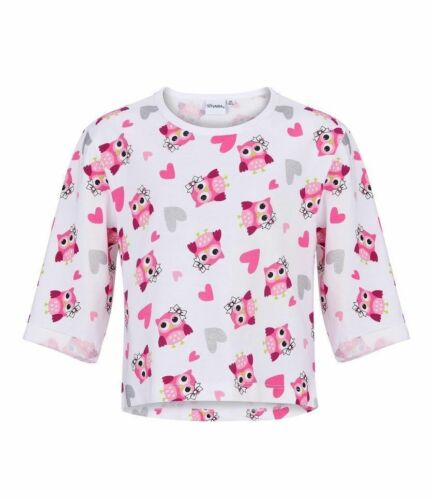 Girls Kids Official Licensed Cute Owl White Long Sleeve T Tee Shirt Top