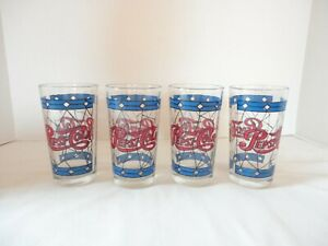 Vintage-Pepsi-Cola-Tiffany-Style-Stained-Glass-12oz-Drinking-Glasses-Set-of-4