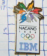 OLYMPICS NAGANO JAPAN 1998 IBM SPONSOR SOUVENIR METAL HAT LAPEL PIN