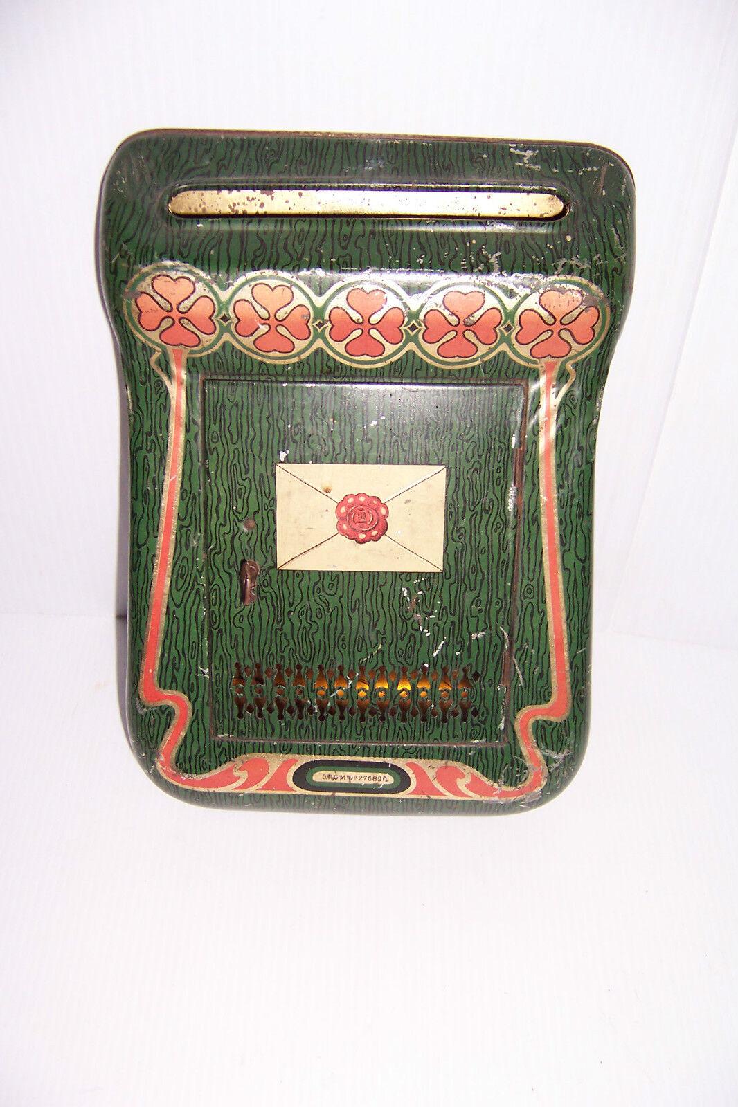 Vintage de estaño de juguete de buzones de correo Drgm No. 276890 Con Clave