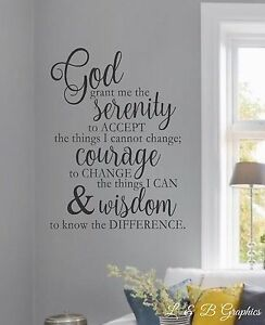 """SERENITY PRAYER Home Bedroom Vinyl Wall Decal Lettering Saying Words 16/"""" x 8/"""""""