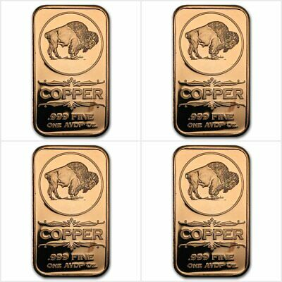 Bullion Ambitious 4 X Bison 1 Once Avdp Cuivre Pur 999 4 X Buffalo 1 Oz Avdp 999 Copper Bar Save 50-70%