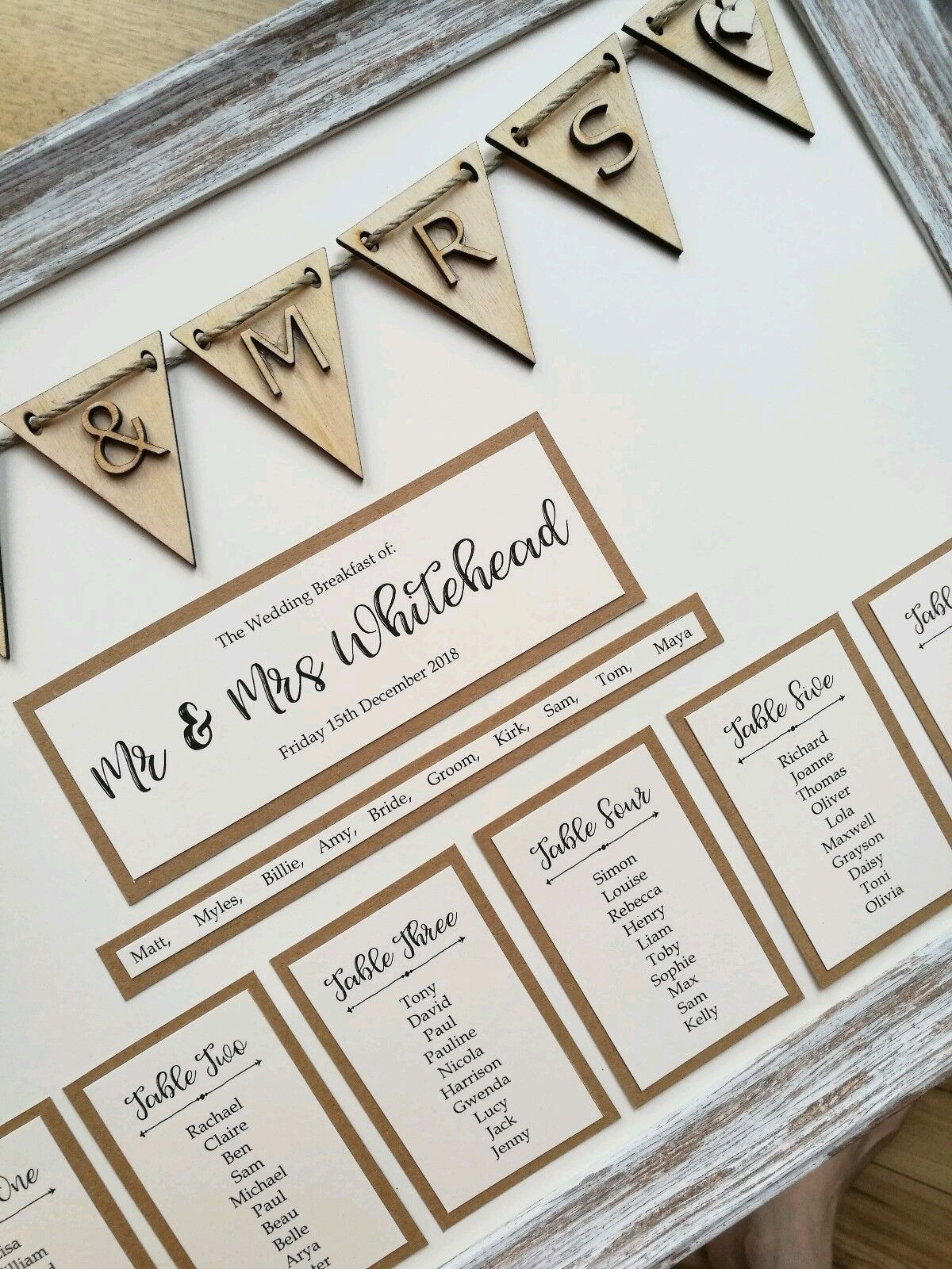 Framed A3 rustic boisen bunting design mariage table plan   seating plan