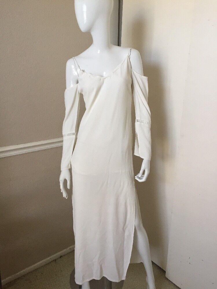 TAVIK BRAND NEW  Ivory Weiß SEXY Cold Shoulder Palloy Lined Maxi Dress Sz S NWT