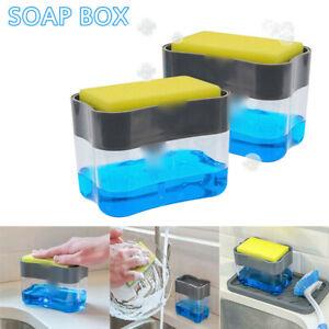 2in1-Pump-Soap-Dispenser-w-Sponge-Caddy-Holder-Kitchen-Sink-Dish-Washing-Tidy
