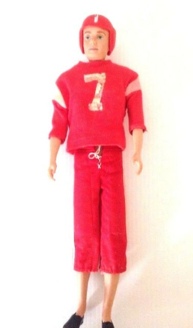 Vintage Ken Doll 1961 #750 Flocked Hair Touchdown Football Outfit Mattel