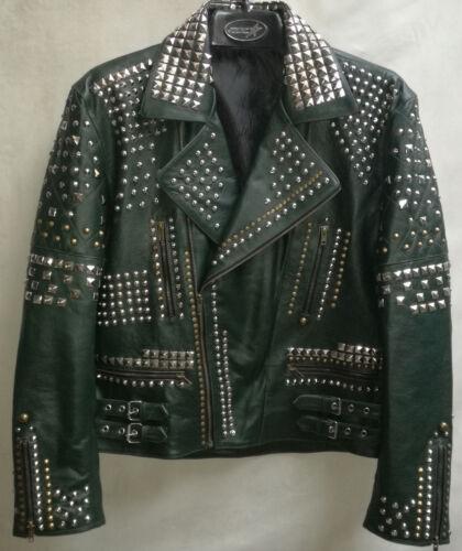 moda de estilo a plateadas con hombre tachas Chaqueta abrigo de Biker cuero de mano real para hecha qSx05O