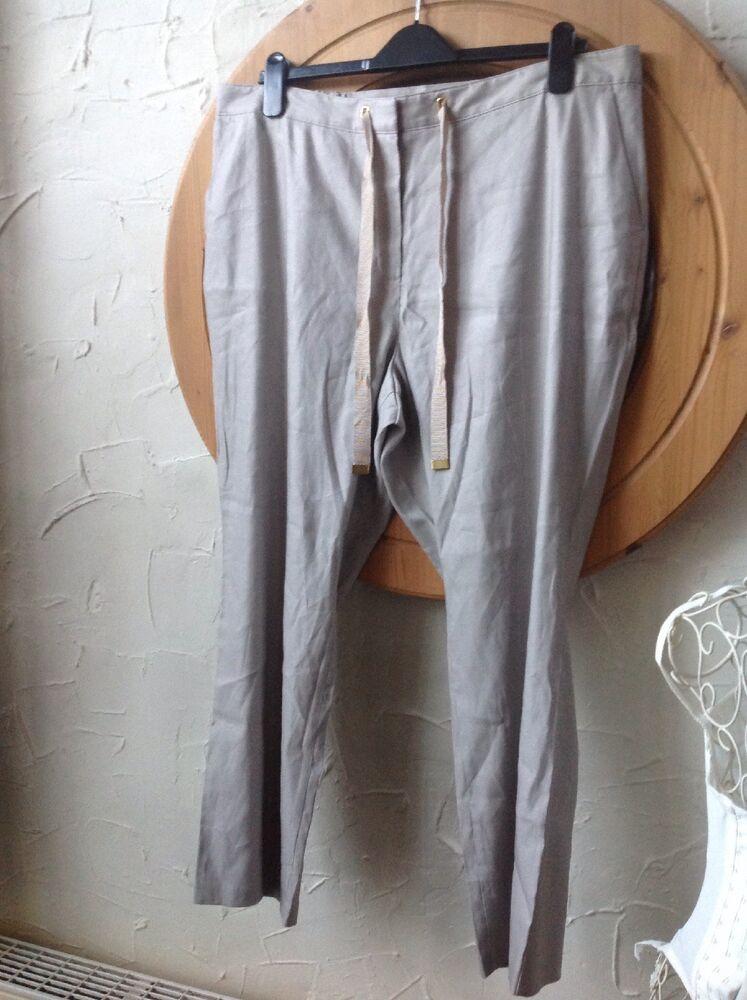 ???? Chiots ???? Marks & Spencer Classique Taille 18 S (46/48) En Lin Beige Pantalon Rrp £ 35