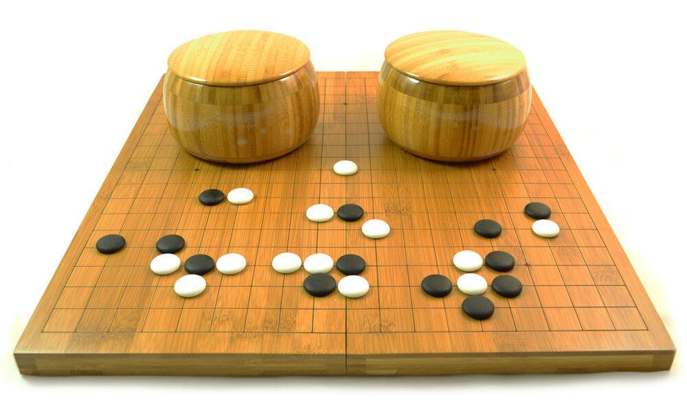 Go Set - Yunzi Weiqi Stones, Bamboo Bowls & Folding Game Board