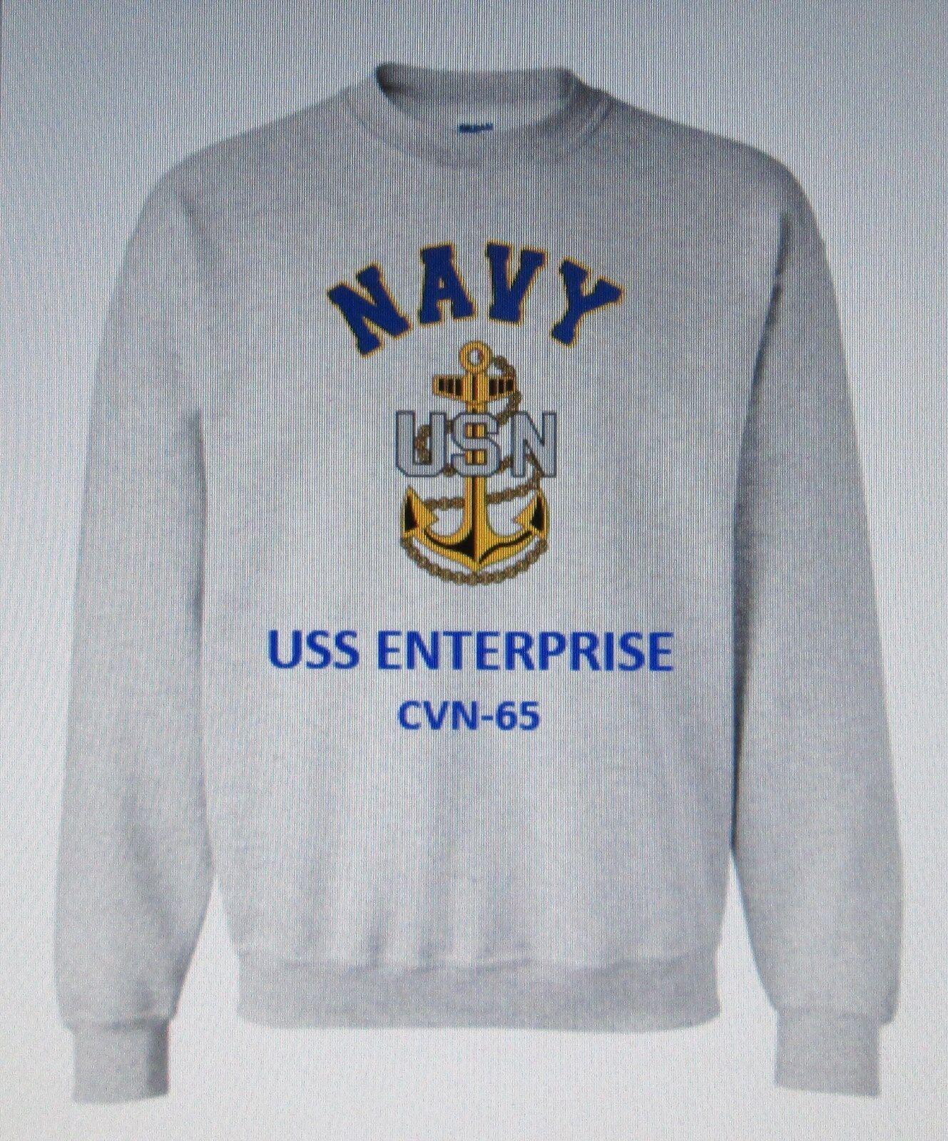 USS ENTERPRISE  CVN-65 AIRCRAFT CARRIER NAVY ANCHOR EMBLEM SWEATSHIRT