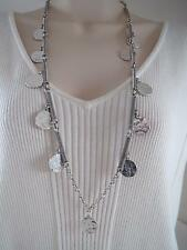 Lucky Brand silver tone textured hammered disc long necklace , NWT