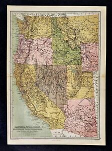 Map Of Nevada Utah And Arizona.1876 Bartholomew Map Us West California Nevada Utah Idaho Oregon