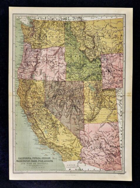 1876 Bartholomew Map Us West California Nevada Utah Idaho Oregon