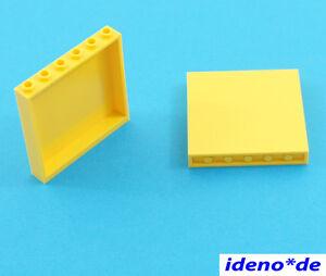 LEGO-2-Pcs-Lambris-Panel-1-x-6-x-5-jaune-59349-Jaune-6119223-Neuf