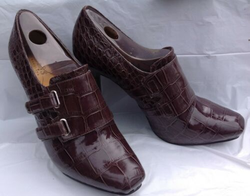 Bootie dimensioni Velcro Pattern Crocodile 8m Guess Brown Heels Nwob OSwfqqC