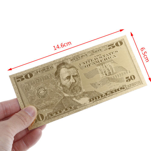 7Pcs gold foil banknote USA 1 dollar bill currency paper money metal plated TDO