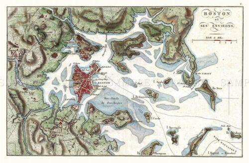 MAP ANTIQUE 1807 BUACHE BOSTON REGION ENVIRONS LARGE REPRO POSTER PRINT PAM1669