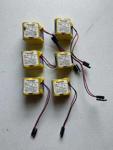 (6) FANUC BR-2/3AGCT4A 6V PLC Battery A98L-0031-0025 CNC System with Plug
