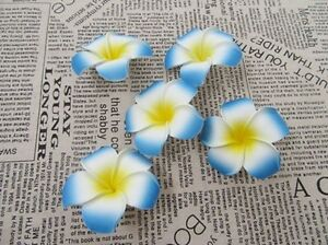30-New-Blue-Fabulous-Foam-Frangipani-Flower-8x3-5cm