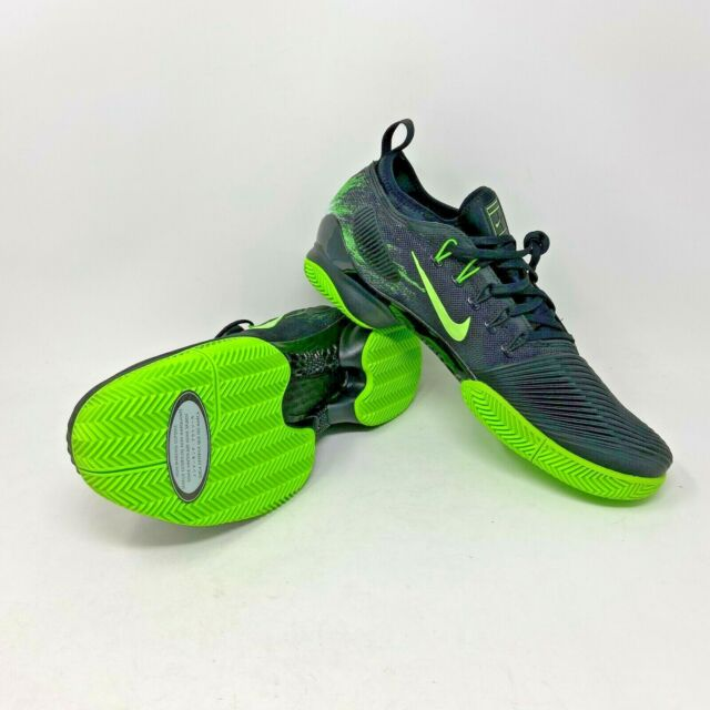 Nike Air Zoom Ultra React Clay Tennis Shoes Black Fluo Green Mens Size 10.5