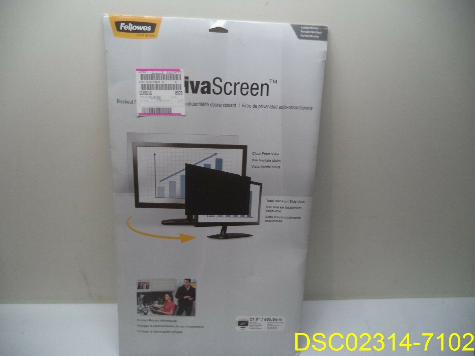 """16:9 Fellowes FEL4815001 Privascreen Blackout Privacy Filter For 27/"""" Lcd"""