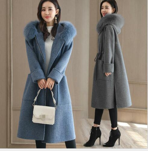 Hooded Collar Warm Fur Winter Long Uld Jacket Trench Coat Kvinder Overcoat Blend nSqXFwt