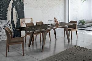 Tavolo design allungabile Gres Porcellanato Vetro Temperato LIBECCIO ...