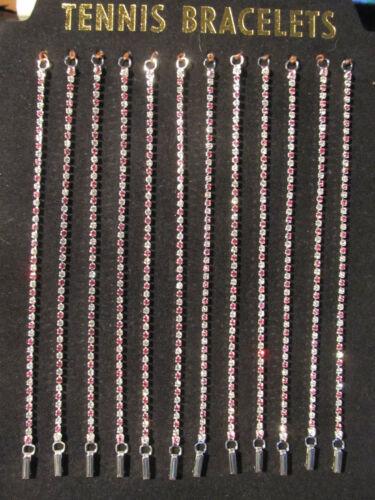 "Silvertone rose /& clair Cristal strass Bracelet Tennis Bracelet 7.5/"""