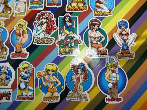 Cosplay girls assorted vtg 1990s 2000s Hook-Ups skateboards sticker