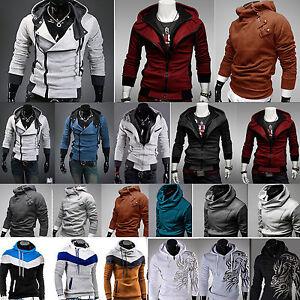 Uomo-Felpa-con-cappuccio-giacca-cappotto-casual-maglione-CAMICIE-MAGLIA
