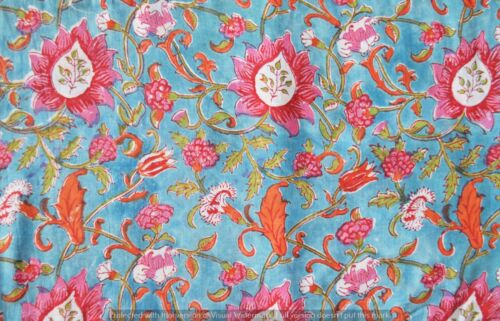 Indian Cotton Voile By The 10 Yard Fabric Hand Block Print Craft Supply Sewing