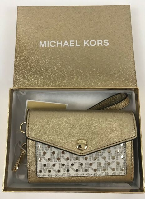 e36cc7c7c7b1 Michael Kors Honey Gold   Vanilla Medium Card Holder Wristlet for sale  online