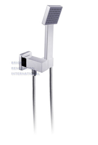 New WELS Bathroom SQUARE Hand Held Shower Rose With Wall Fixing Bracket Plumbing
