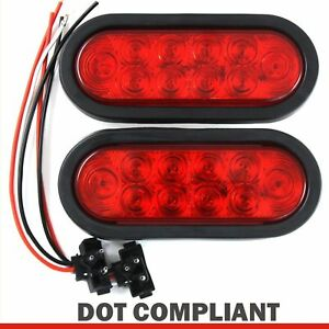 "2 Red 6"" Oval Trailer Lights 10 LED Stop Turn Tail Truck Sealed Grommet Plug DOT"