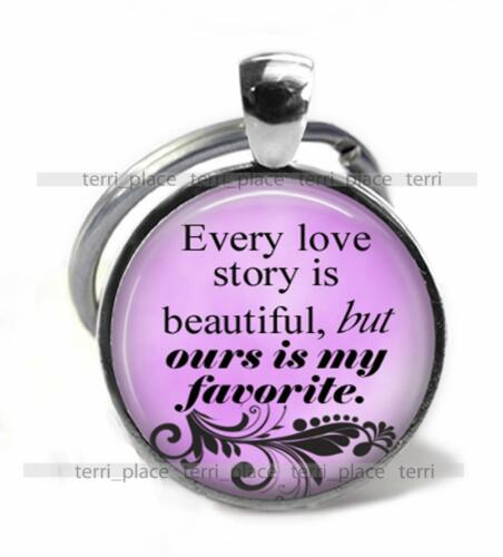 Our Love Story is My Favorite Gift Key Chain Glass Top Clip-on Anniversary Gift