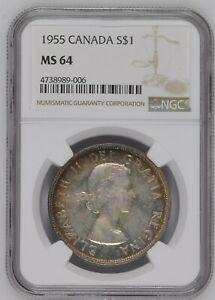 Canada-Silver-Dollar-1955-Elizabeth-II-NGC-MS-64-KM-54-1042