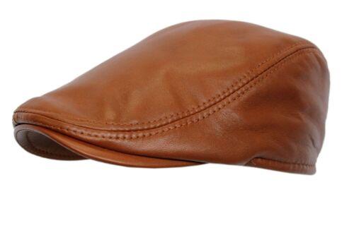 Men/'s Leather Ivy  Tan Lambskin Bunnet Newsboy Beret Cabbie Gatsby Flat Cap