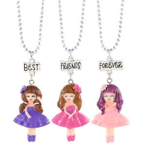3pc Best Friend Forever Cartoon Three Girls Resin Pendant Necklace