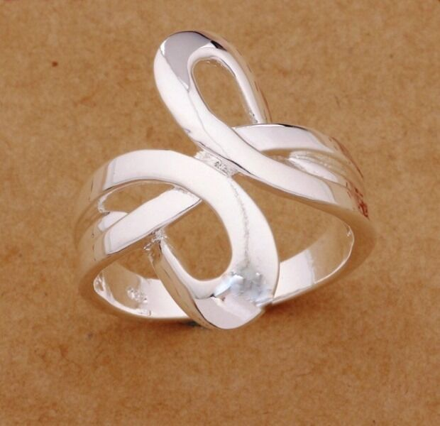 925 Silver Plated Unique Wave Ring Women Jewelry UK Size L, N,P,R Quality Ring