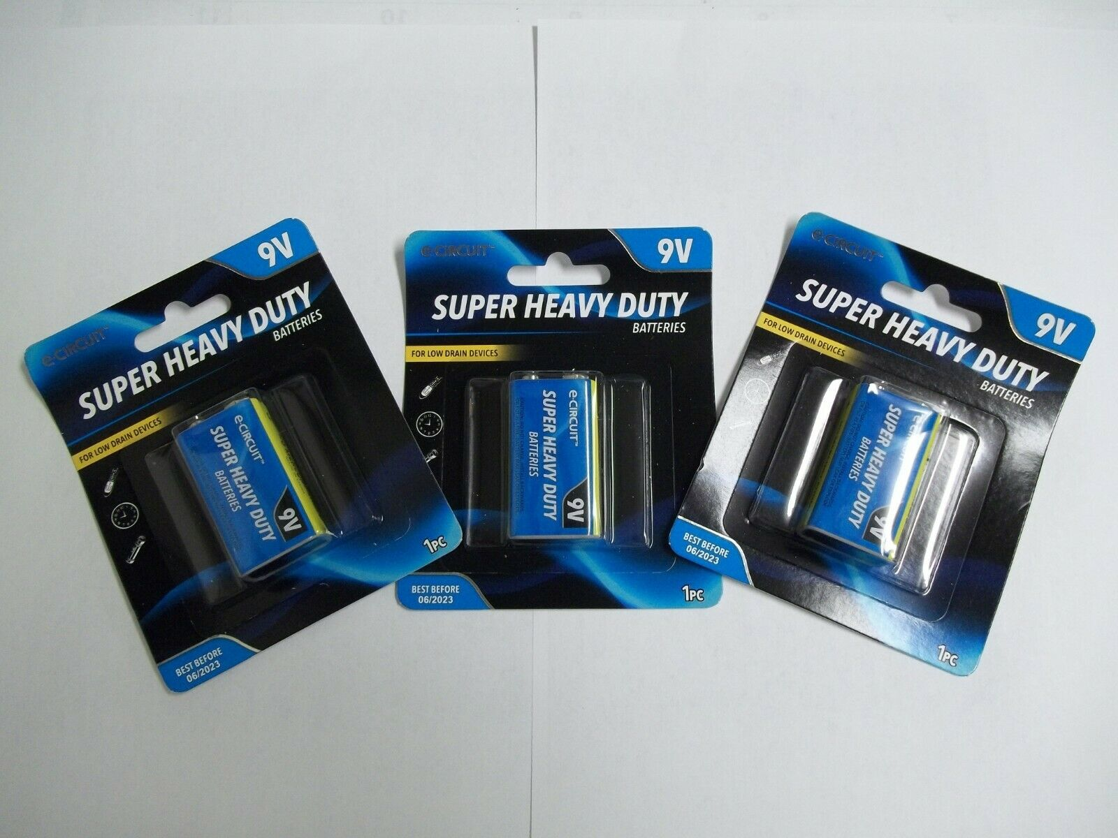 3 Packs Ecircuit Heavy Duty 9V Batteries Best By 2023 Brand New Pkg Free Ship!