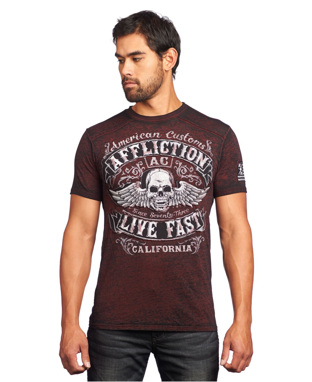 Affliction Men's Inquisition Red Burnout T-shirt A10512