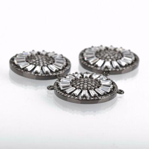 2-hole Connector chs3585 Micro Pave Cubic Zirconia Crystals Gunmetal Charm