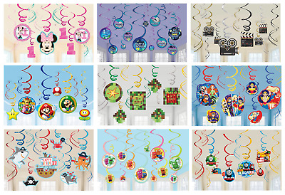 Licensed Character Childrens Kids Birthday Party Decorations 12 HANGING SWIRLS