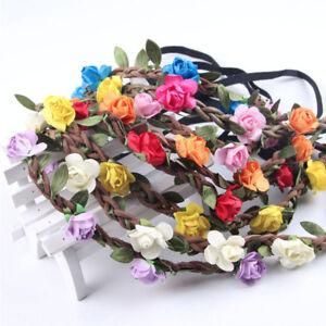 8dd71d9c257740 Das Bild wird geladen Haarband-Blumen-Kranz-Stirnband-Bluete-geflochten- Haarreif-Oktoberfest-