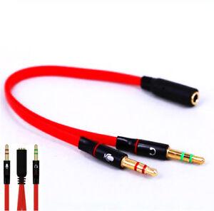 Audio-Splitter-Kabel-Y-Adapter-Kopfhoerer-Headset-3-5mm-Klinke-Stereo-Computer-RT