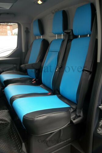 SEAT COVERS MADE TO MEASURE BLUE FORD TRANSIT VAN 2006 BLACK LEATHERETTE