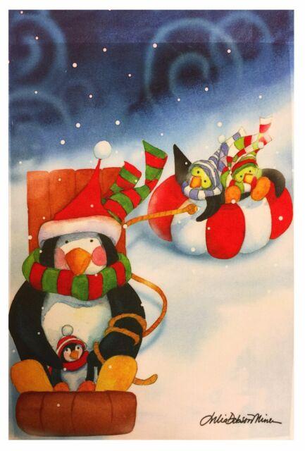 snowman decorative garden flag 12x18 winter christmas designer flags penguin family - Decorative Christmas Flags