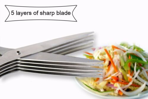 Herb Scissors Set With 5 Blades And Cover Multipurpose Kitchen