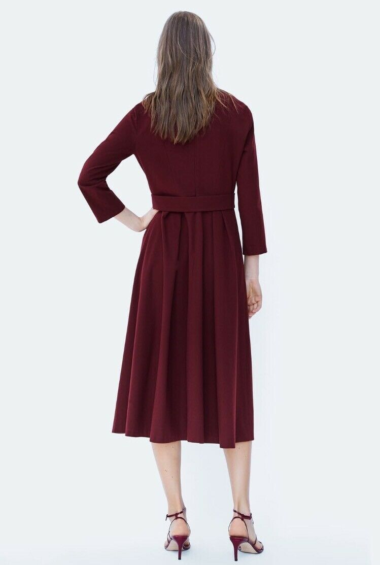 BNWT ZARA BURGUNDY FLOWING BUTTON-UP DRESS DRESS DRESS  ORG  120 95df88