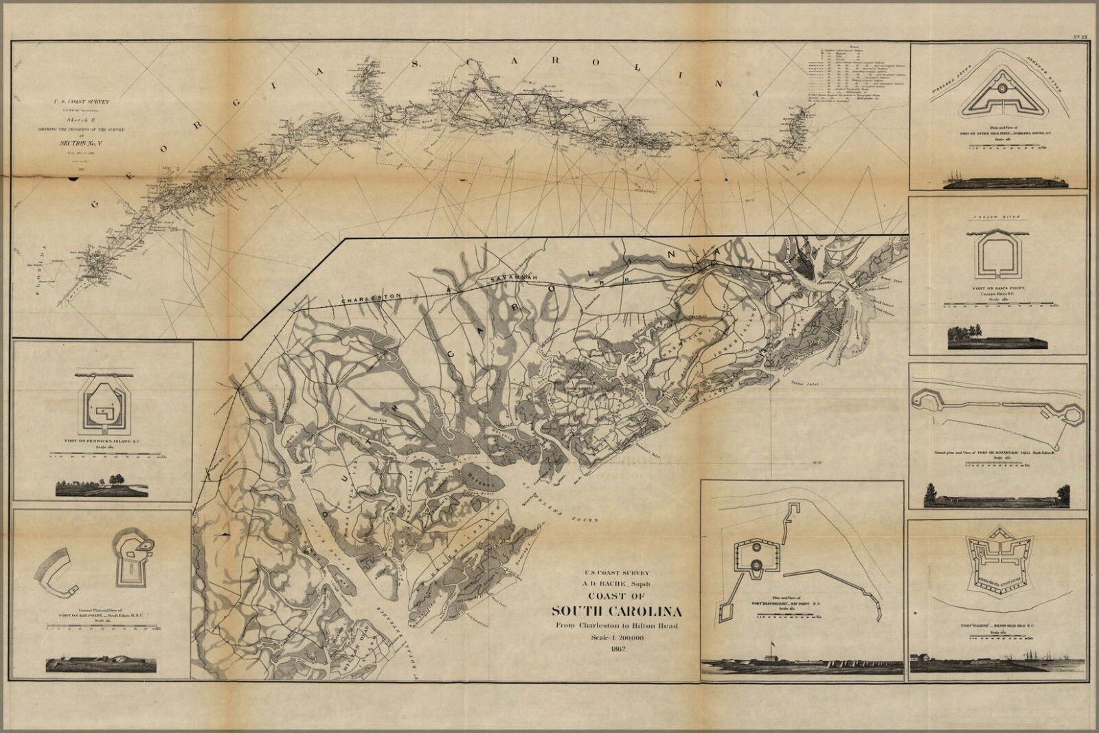 Poster, Molte Molte Molte Misure; Costa Mappa Del South Carolina 0b0067